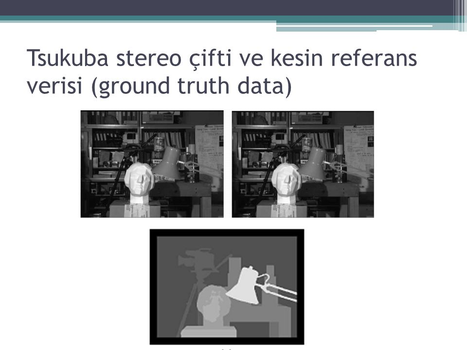 Tsukuba stereo çifti ve kesin referans verisi (ground truth data)