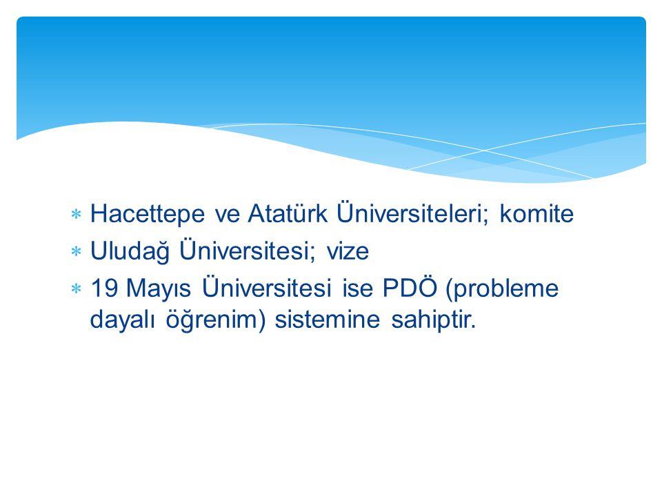 Hacettepe ve Atatürk Üniversiteleri; komite