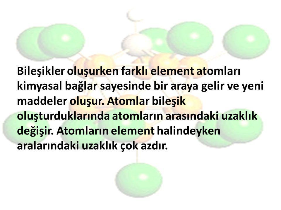 Bileşikler oluşurken farklı element atomları kimyasal bağlar sayesinde bir araya gelir ve yeni maddeler oluşur.