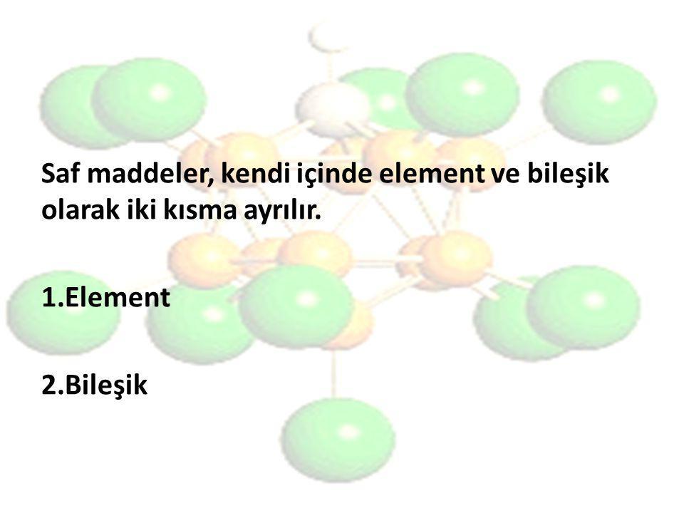 Saf maddeler, kendi içinde element ve bileşik olarak iki kısma ayrılır.