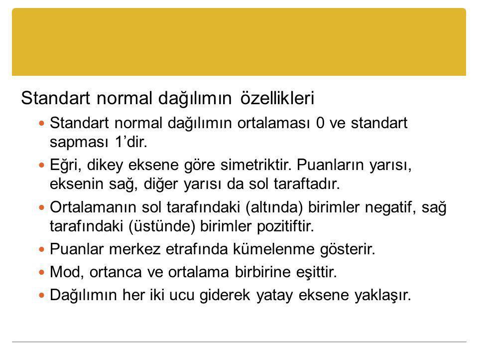 Standart normal dağılımın özellikleri