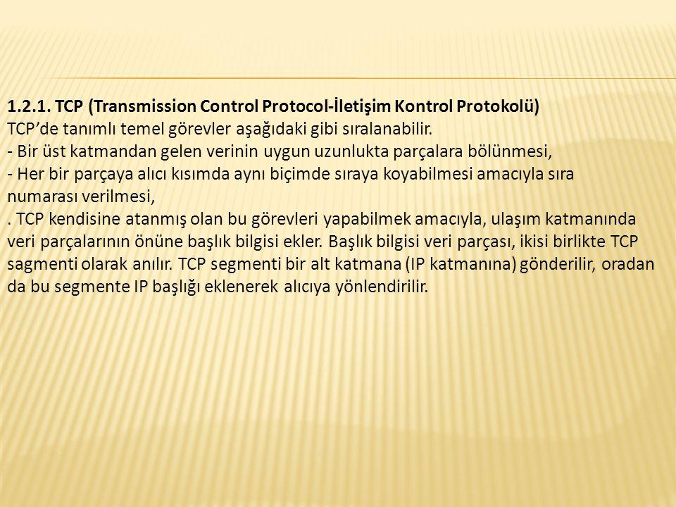1.2.1. TCP (Transmission Control Protocol-İletişim Kontrol Protokolü)