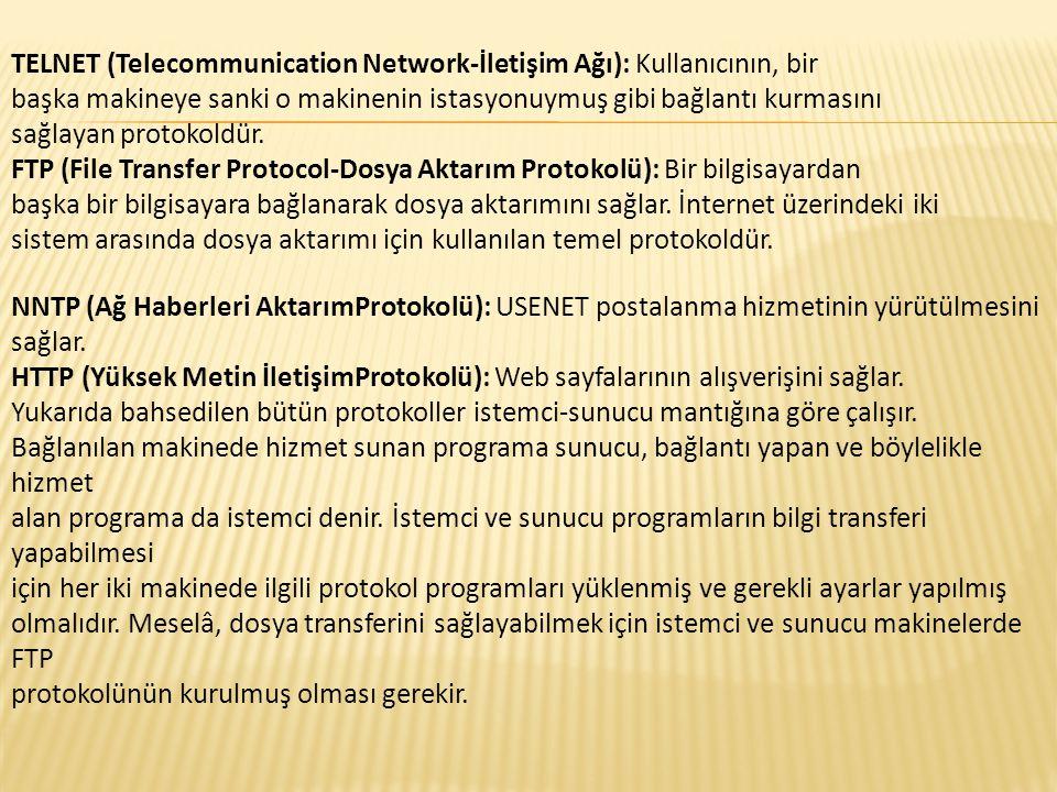 TELNET (Telecommunication Network-İletişim Ağı): Kullanıcının, bir