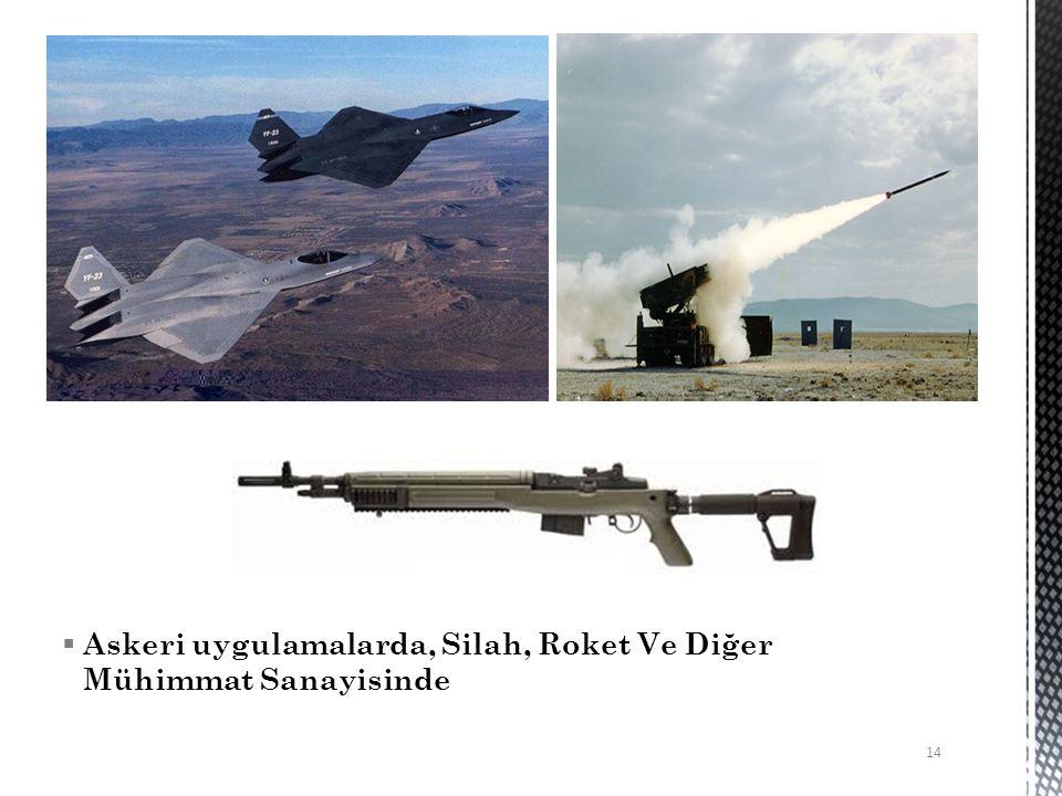 Askeri uygulamalarda, Silah, Roket Ve Diğer Mühimmat Sanayisinde