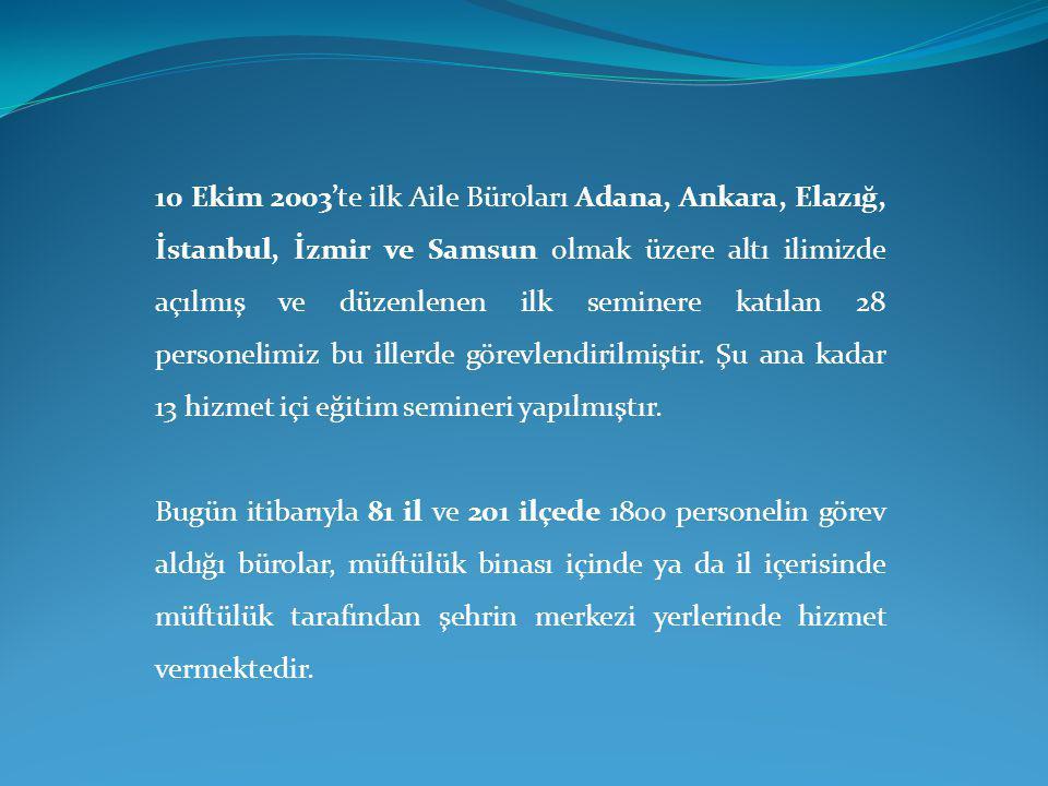 10 Ekim 2003'te ilk Aile Büroları Adana, Ankara, Elazığ, İstanbul, İzmir ve Samsun olmak üzere altı ilimizde açılmış ve düzenlenen ilk seminere katılan 28 personelimiz bu illerde görevlendirilmiştir. Şu ana kadar 13 hizmet içi eğitim semineri yapılmıştır.