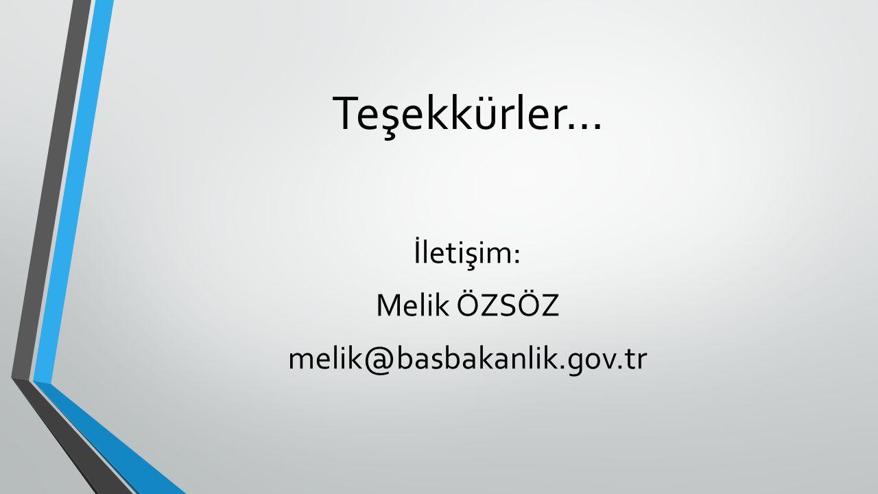 İletişim: Melik ÖZSÖZ melik@basbakanlik.gov.tr