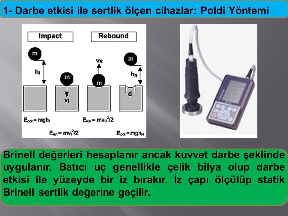 1- Darbe etkisi ile sertlik ölçen cihazlar: Poldi Yöntemi