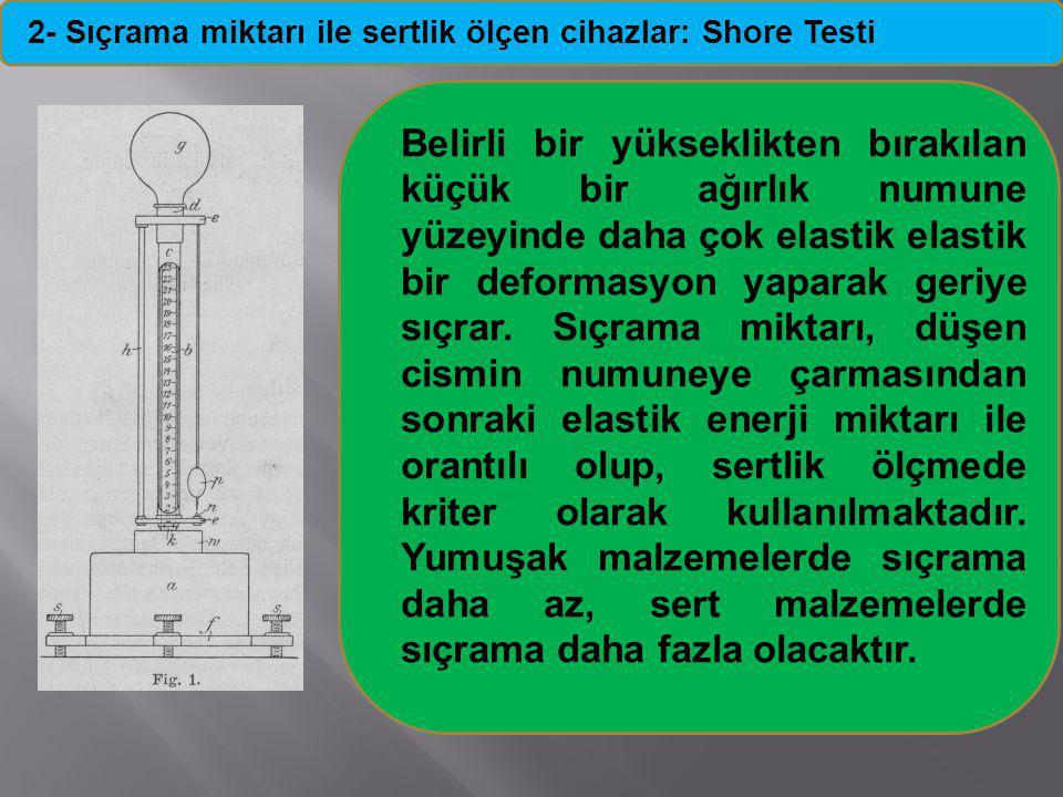 2- Sıçrama miktarı ile sertlik ölçen cihazlar: Shore Testi