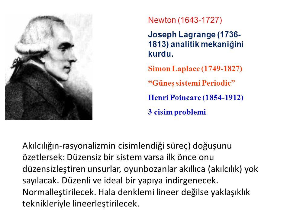 Newton (1643-1727) Joseph Lagrange (1736-1813) analitik mekaniğini kurdu. Descartes (1596-1650) Simon Laplace (1749-1827)