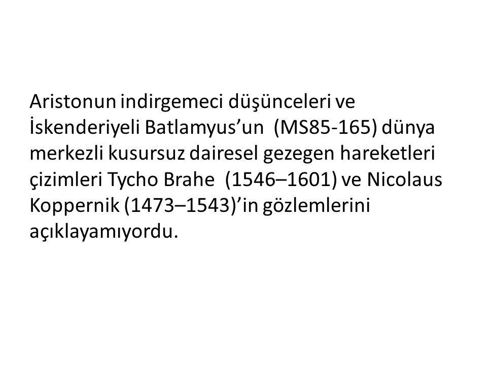 Aristonun indirgemeci düşünceleri ve İskenderiyeli Batlamyus'un (MS85-165) dünya merkezli kusursuz dairesel gezegen hareketleri çizimleri Tycho Brahe (1546–1601) ve Nicolaus Koppernik (1473–1543)'in gözlemlerini açıklayamıyordu.