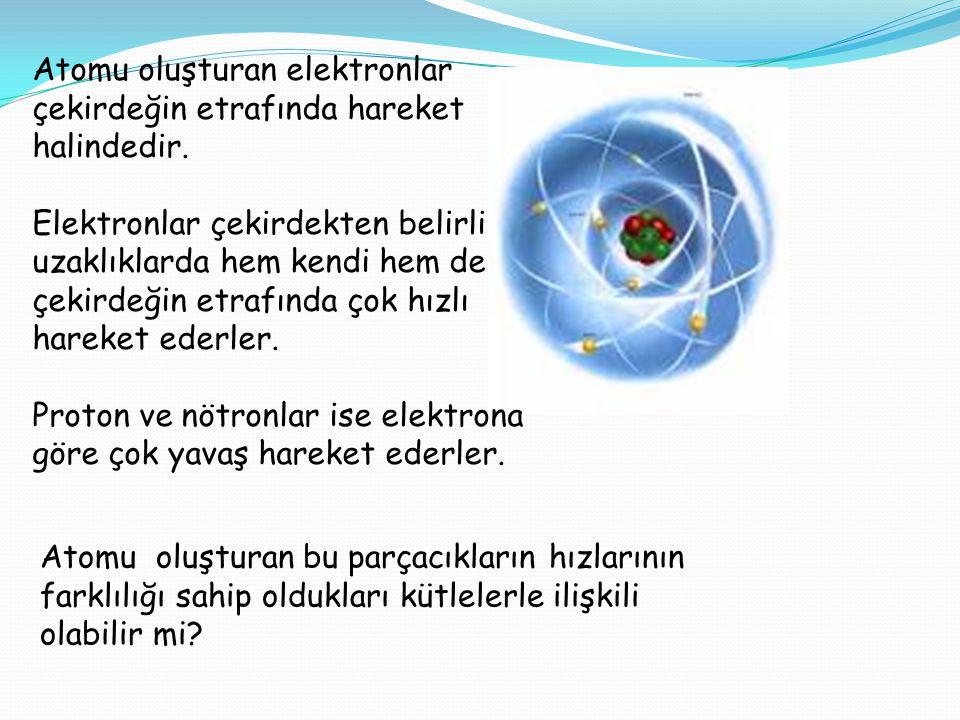 Atomu oluşturan elektronlar çekirdeğin etrafında hareket halindedir.