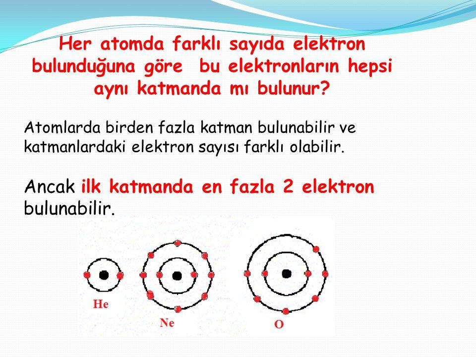 Ancak ilk katmanda en fazla 2 elektron bulunabilir.