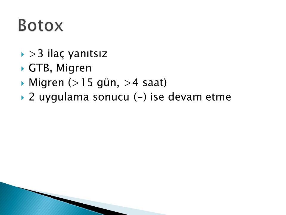 Botox >3 ilaç yanıtsız GTB, Migren Migren (>15 gün, >4 saat)