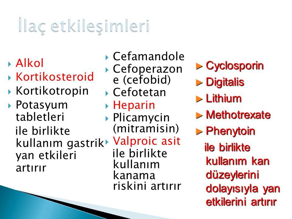 İlaç etkileşimleri Cefamandole Cefoperazon e (cefobid) Cefotetan