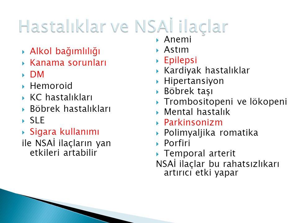 Hastalıklar ve NSAİ ilaçlar