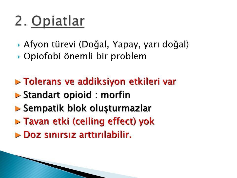 2. Opiatlar Tolerans ve addiksiyon etkileri var