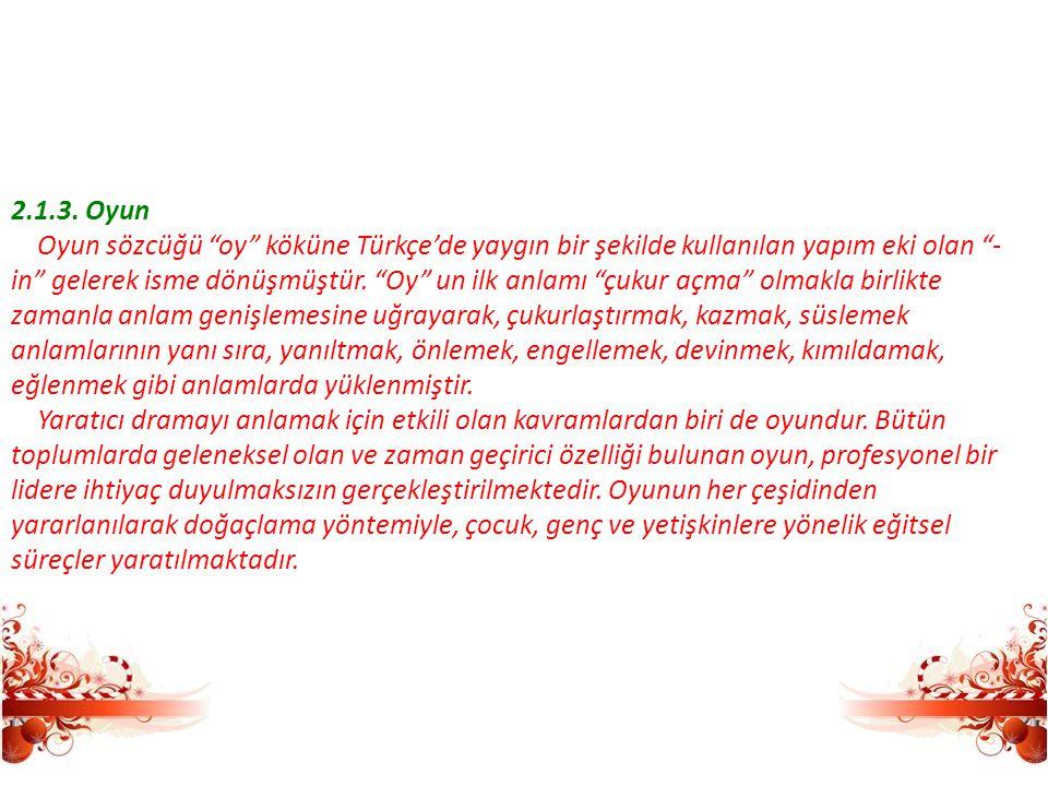 2.1.3. Oyun Oyun sözcüğü oy köküne Türkçe'de yaygın bir şekilde kullanılan yapım eki olan -