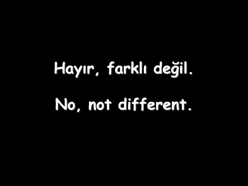 Hayır, farklı değil. No, not different.