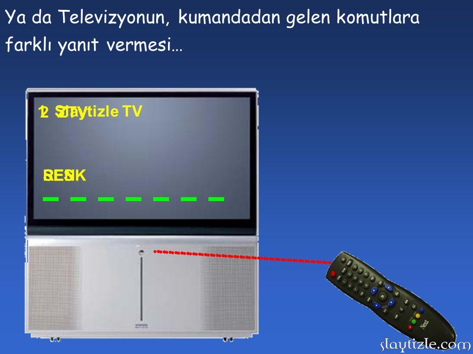 Ya da Televizyonun, kumandadan gelen komutlara farklı yanıt vermesi…