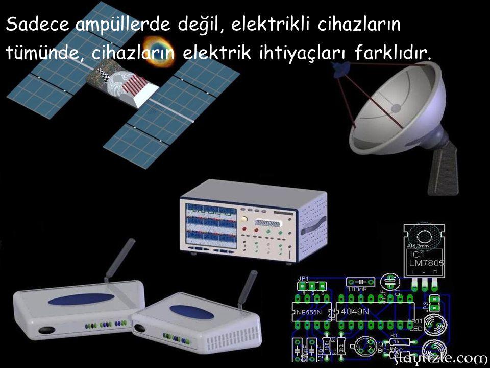 Sadece ampüllerde değil, elektrikli cihazların tümünde, cihazların elektrik ihtiyaçları farklıdır.