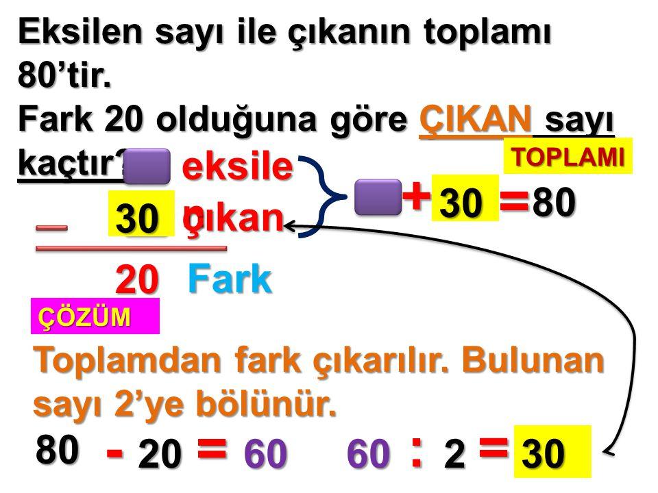 + = - = : = eksilen 30 80 30 çıkan 20 Fark 80 20 60 60 2 30