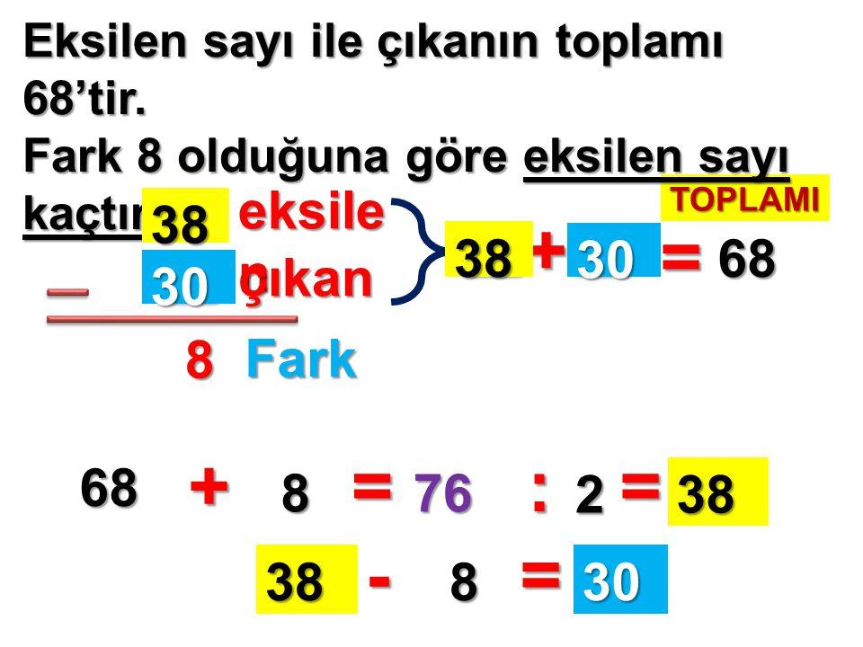 + = + = : = - = eksilen 38 38 30 68 çıkan 30 8 Fark 68 8 76 2 38 38 8