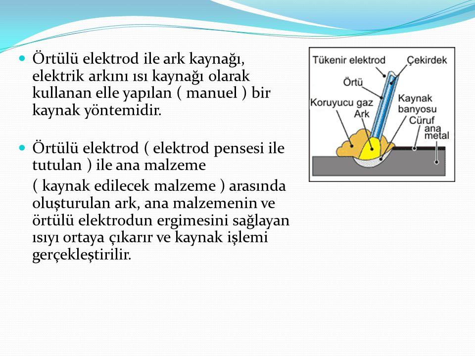 Örtülü elektrod ile ark kaynağı, elektrik arkını ısı kaynağı olarak kullanan elle yapılan ( manuel ) bir kaynak yöntemidir.