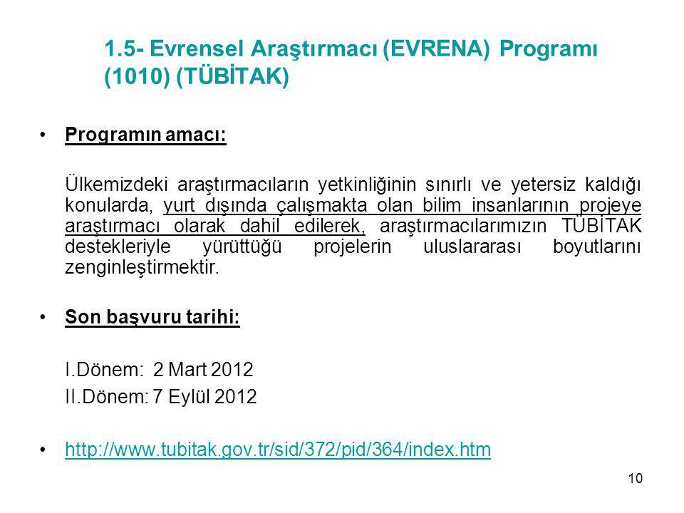 1.5- Evrensel Araştırmacı (EVRENA) Programı (1010) (TÜBİTAK)