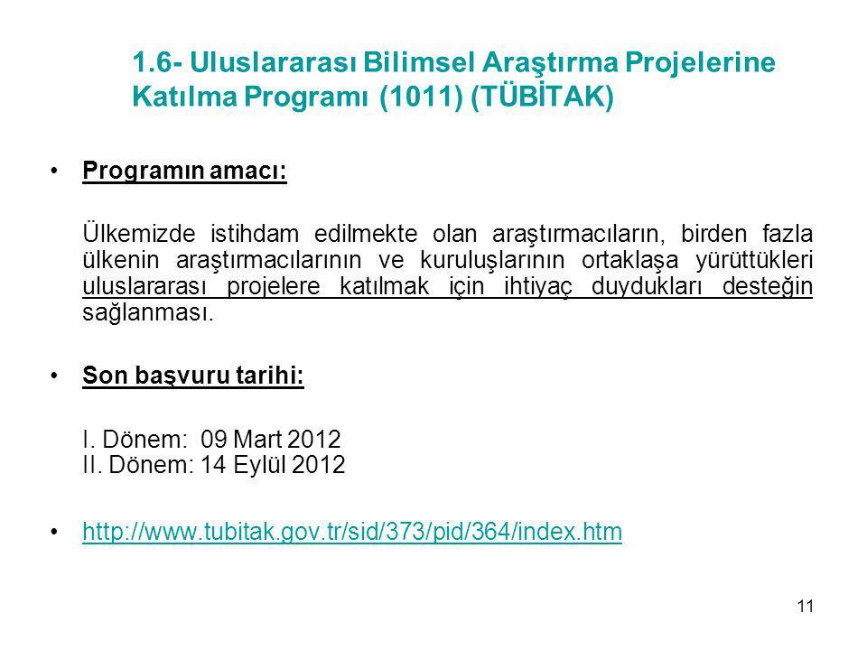 1.6- Uluslararası Bilimsel Araştırma Projelerine Katılma Programı (1011) (TÜBİTAK)