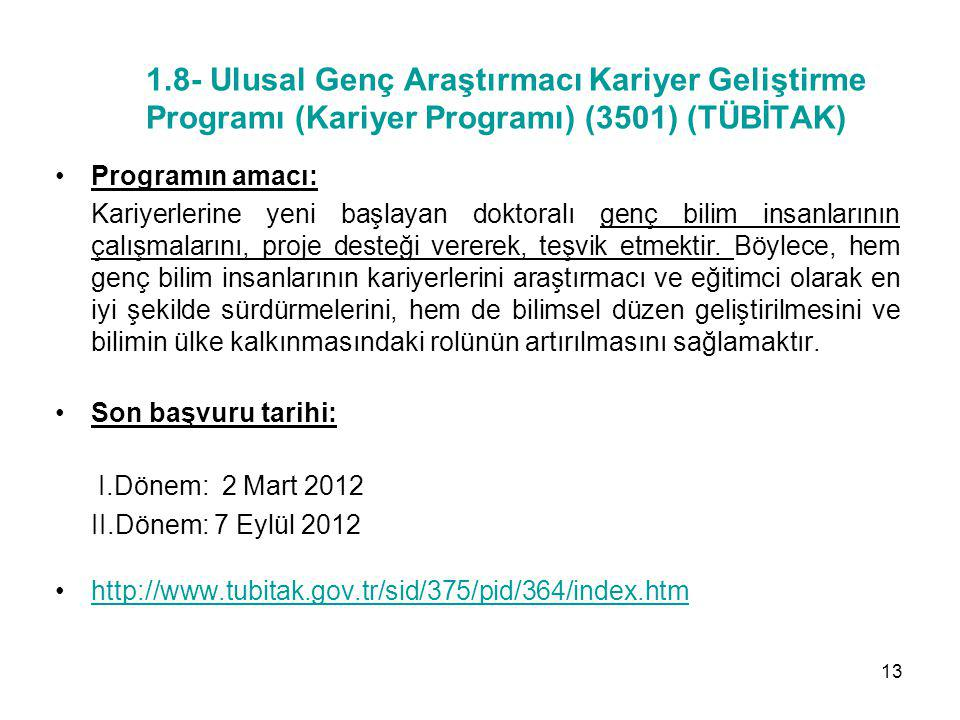 1.8- Ulusal Genç Araştırmacı Kariyer Geliştirme Programı (Kariyer Programı) (3501) (TÜBİTAK)