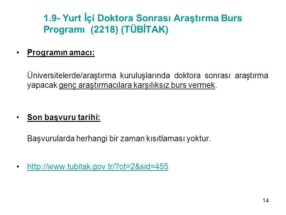 1.9- Yurt İçi Doktora Sonrası Araştırma Burs Programı (2218) (TÜBİTAK)