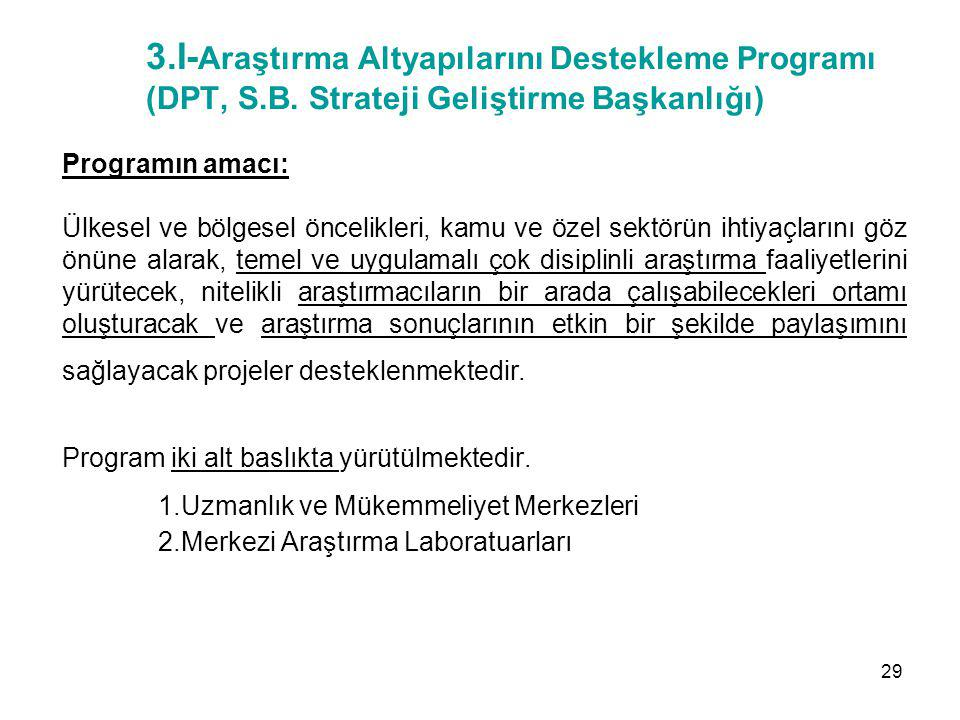 3. I-Araştırma Altyapılarını Destekleme Programı (DPT, S. B