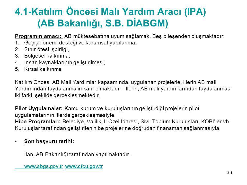 4.1-Katılım Öncesi Malı Yardım Aracı (IPA) (AB Bakanlığı, S.B. DİABGM)