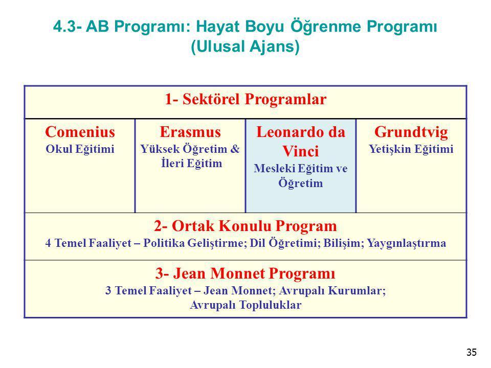 4.3- AB Programı: Hayat Boyu Öğrenme Programı (Ulusal Ajans)