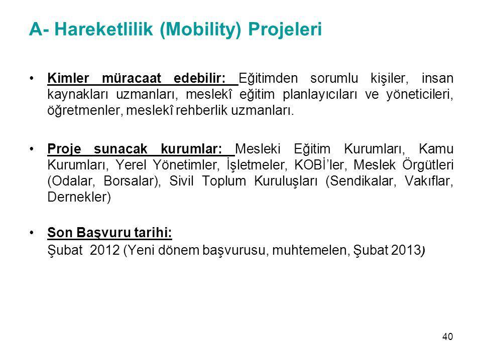 A- Hareketlilik (Mobility) Projeleri
