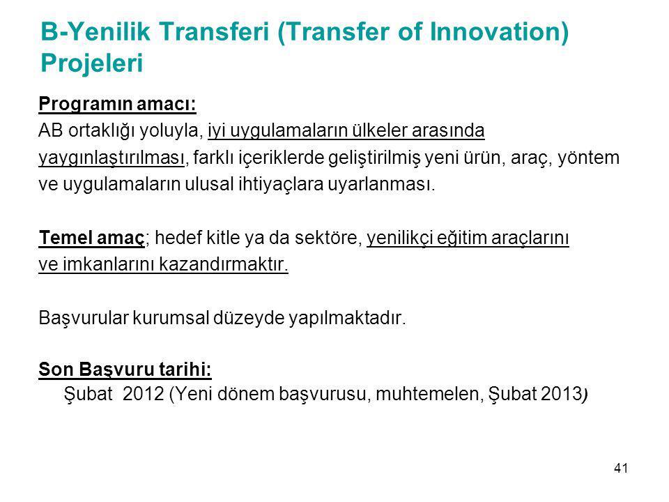 B-Yenilik Transferi (Transfer of Innovation) Projeleri