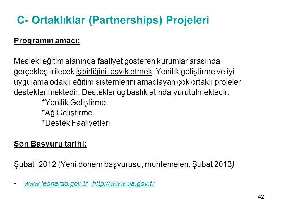 C- Ortaklıklar (Partnerships) Projeleri