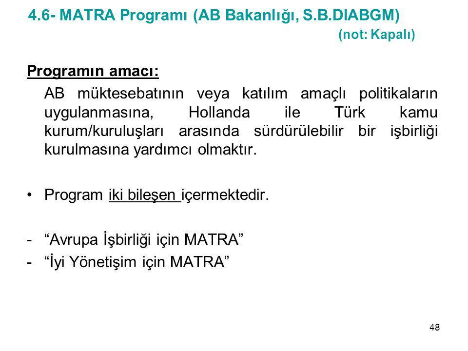 4.6- MATRA Programı (AB Bakanlığı, S.B.DIABGM) (not: Kapalı)