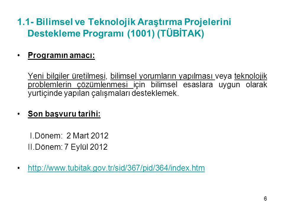 1.1- Bilimsel ve Teknolojik Araştırma Projelerini Destekleme Programı (1001) (TÜBİTAK)