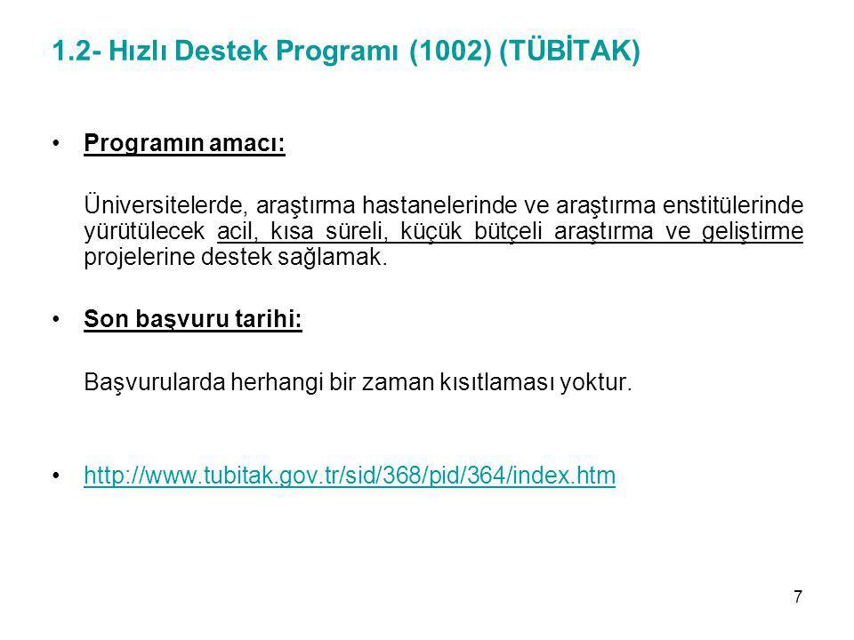 1.2- Hızlı Destek Programı (1002) (TÜBİTAK)
