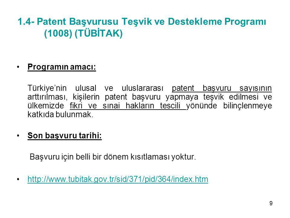 1.4- Patent Başvurusu Teşvik ve Destekleme Programı (1008) (TÜBİTAK)