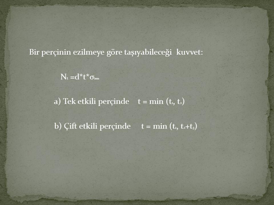 Bir perçinin ezilmeye göre taşıyabileceği kuvvet: Nt =d. t