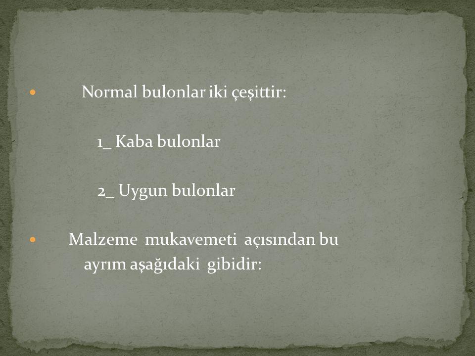 Normal bulonlar iki çeşittir:
