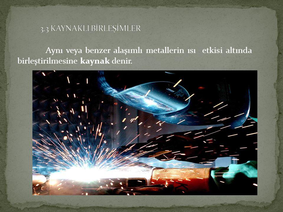 3.3 KAYNAKLI BİRLEŞİMLER Aynı veya benzer alaşımlı metallerin ısı etkisi altında birleştirilmesine kaynak denir.