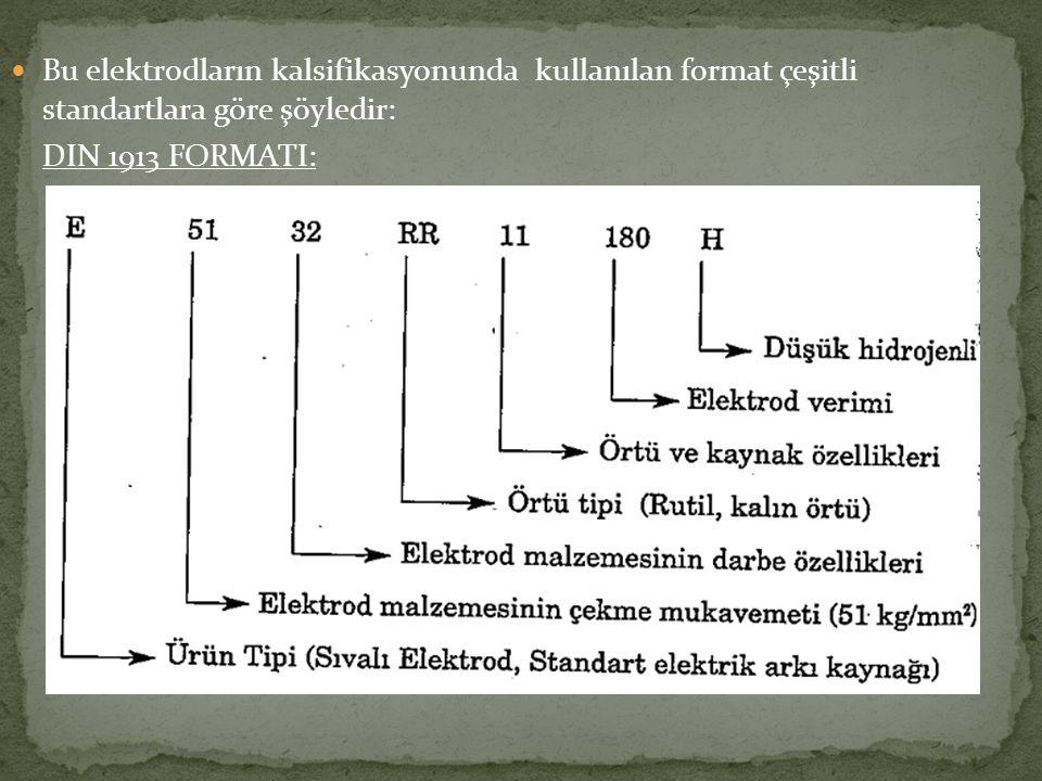 Bu elektrodların kalsifikasyonunda kullanılan format çeşitli standartlara göre şöyledir: