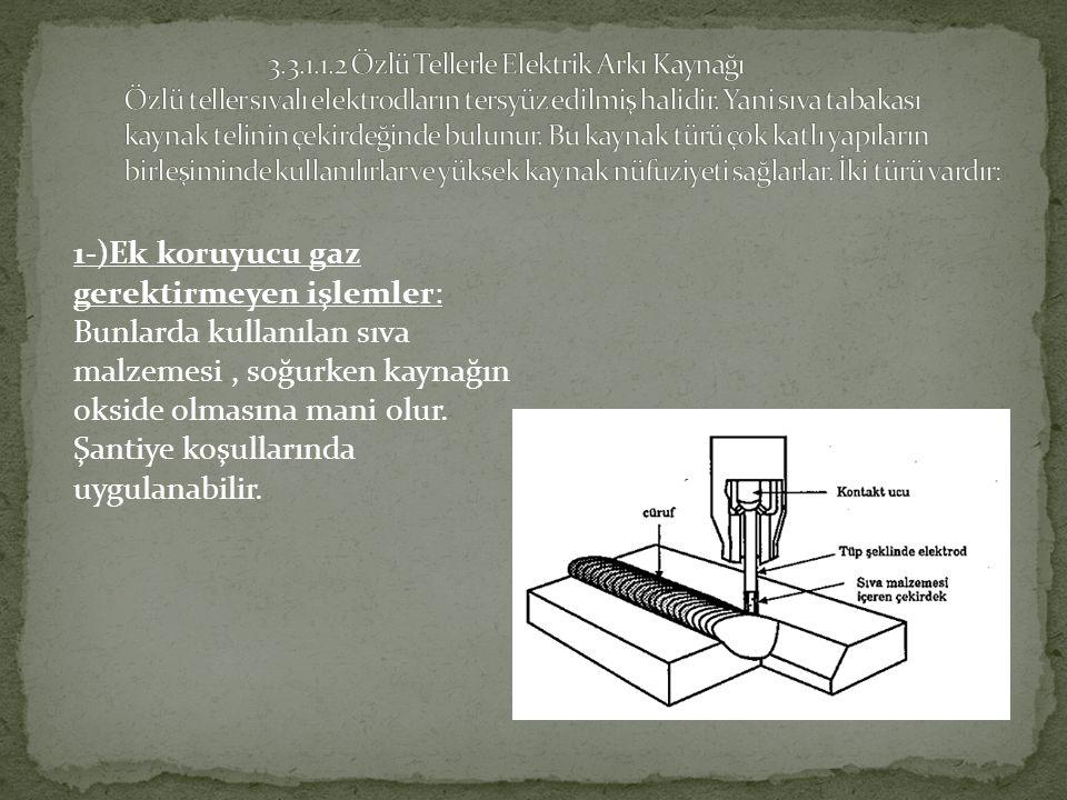 3.3.1.1.2 Özlü Tellerle Elektrik Arkı Kaynağı Özlü teller sıvalı elektrodların tersyüz edilmiş halidir. Yani sıva tabakası kaynak telinin çekirdeğinde bulunur. Bu kaynak türü çok katlı yapıların birleşiminde kullanılırlar ve yüksek kaynak nüfuziyeti sağlarlar. İki türü vardır: