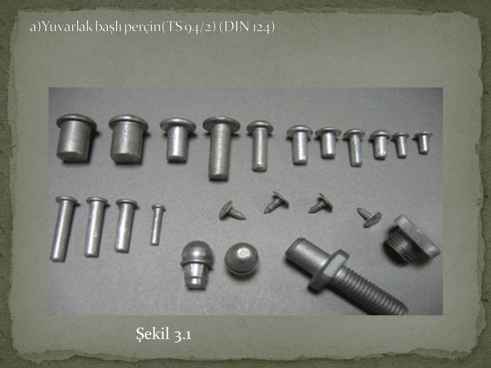 a)Yuvarlak başlı perçin(TS 94/2) (DIN 124)