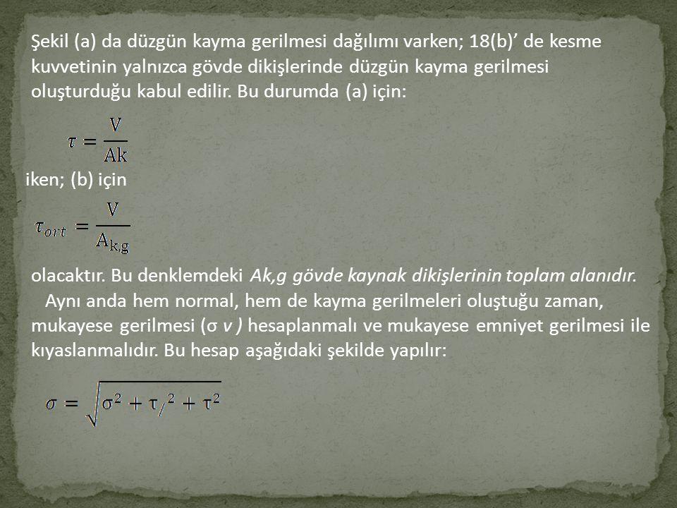 Şekil (a) da düzgün kayma gerilmesi dağılımı varken; 18(b)' de kesme kuvvetinin yalnızca gövde dikişlerinde düzgün kayma gerilmesi oluşturduğu kabul edilir. Bu durumda (a) için:
