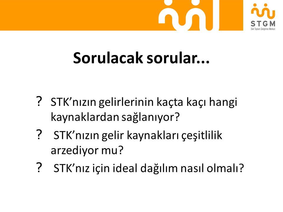 Sorulacak sorular... STK'nızın gelirlerinin kaçta kaçı hangi kaynaklardan sağlanıyor STK'nızın gelir kaynakları çeşitlilik arzediyor mu
