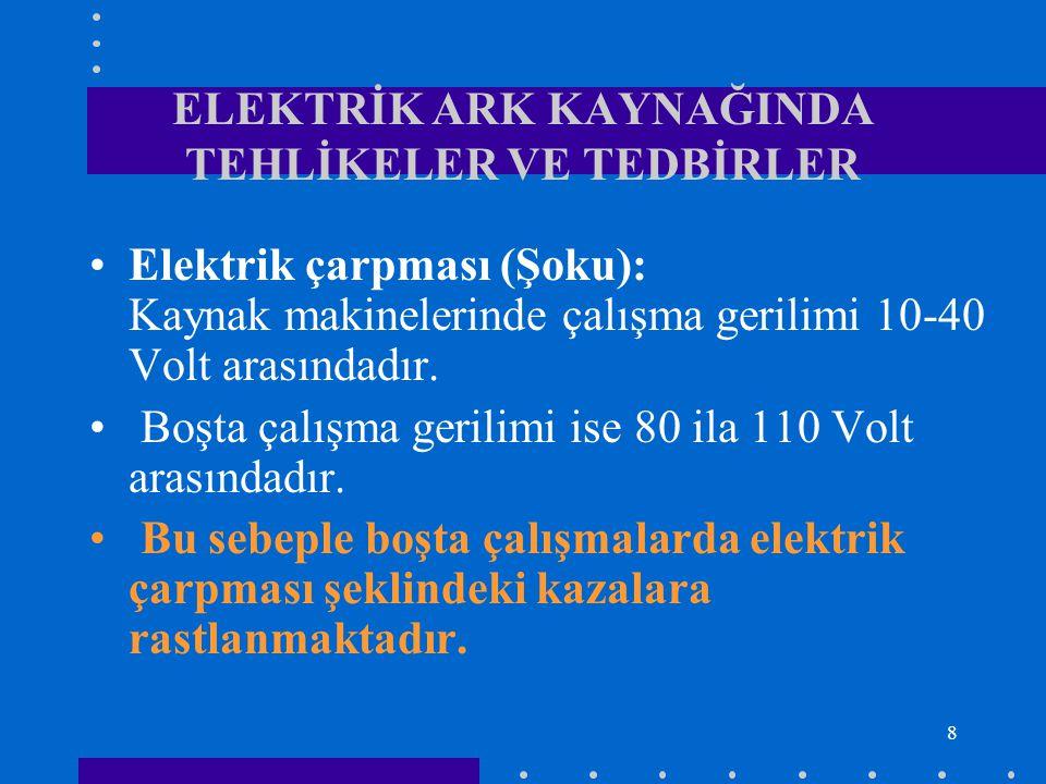 ELEKTRİK ARK KAYNAĞINDA TEHLİKELER VE TEDBİRLER
